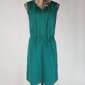 Loft | Teal Print Shirtdress w/Pockets Dress (S)